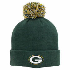NFL Green Bay Packers Boys Basic Cuff Knit w/Pom, Hunter, One Size- Free Shippin