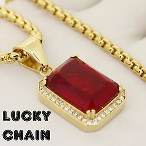 30''STAINLESS STEEL GOLD ROUND BOX CHAIN RUBY PENDANT 35g E958