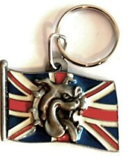 SPIKE BULLDOG Union Jack flag  vintage cast metaL enamel keyring 1993