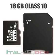 Scheda di Memoria 16GB Micro SD HC Classe 10 per Samsung Xiaomi Huawei LG Nero
