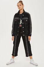 Topshop Moto Lace Up Denim Jacket Black Size UK 8 rrp £75 DH079 OO 13