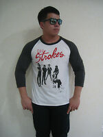 The Strokes Group Photo Music Rock Raglan T-Shirt Men's White Graphic Tee Bunny