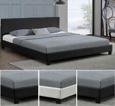 Design en Cuir relax Lit+Sommier Double 140 160 180 x 200 bed BLANC NOIR ou GRIS