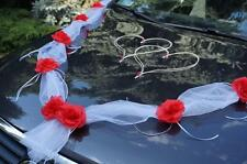 wedding car decoration, ribbon, bows,white/ red garland,prom limousine decorate