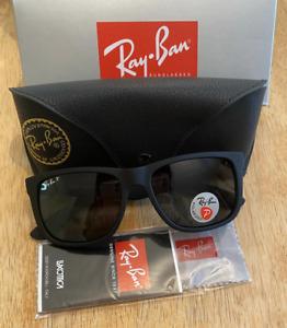 Ray-Ban Justin RB4165 601/71 Rubber Black Frame Sunglasses Green Polarised