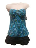 Island Escape Womens Patterned Ruffled Bandini 2 Piece Blue Size 14 NWT $60 SS12