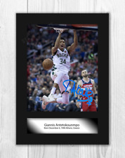 More details for giannis antetokounmpo nba milwaukee bucks a4 signed poster choice of frame