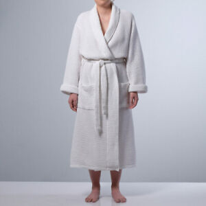 NEW Rosaura Unisex Cotton Waffle Bathrobe - M/L White