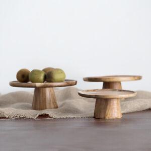 Stand Holder Cupcake Display Wooden Round Pedestal Dessert Table High Tray Cake