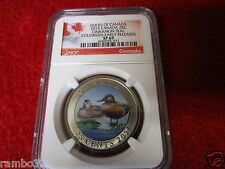 2015 Canada 25c Colorized Ducks of Canada - Cinnamon Teal NGC PCGS SP69 ER