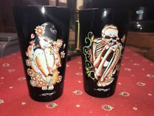 Don Ed Hardy Set Of 2 Pint Drinking Glasses, Heavy Black Glass, Beauty And Beast