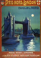 """TS61 Vintage Paris Nord And London Railway Poster Re-Print A3 17/""""x12/"""""""
