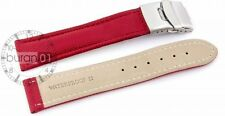 Waterproof Band Watch Strap Red Red Seam Folding Clasp 24mm