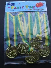 """6 Winner Gold MEDALS - """"Great for Loot Bags, Prizes, Parties, Games, Fun"""""""