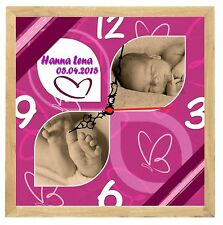 Geburtsuhr  Wanduhr zur Geburt mit Wunschfoto und Namen