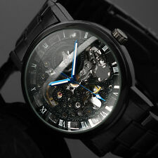 Skeleton Wrist Men's Black Stainless Steel Mechanical Wrist Watch Transparent