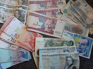 Geldscheine Banknoten England Malaysia Österreich Türkei u. a.