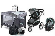 Graco Baby Stroller Jogger Car Seat Travel System with Delta Playard Diaper Bag