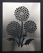 Chinese Chrysanthemum Flower Heads Stainless Steel Metal Stencil 7.5cm x 10.5cm