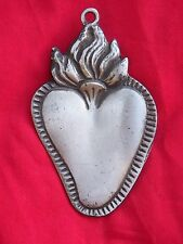 Tin/Silver Sacred Heart with High Flames Milagro Ex Voto