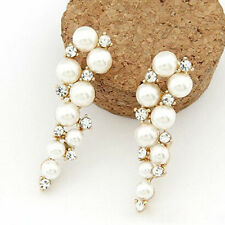 ED16 Dangling Elegant Gold With White Faux Pearl & Crystal Earrings