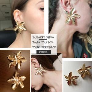 Gold Big Flower Drop Dangle Earring for Women Floral Geometry Party Docona Elega