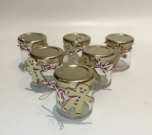 6 Small Sweet Jam Jars Christmas Gingerbread Man Table Decoration Thank You Gift