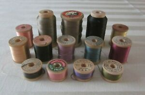 14 Vintage Wood Silk Twist Spools Belding Corticelli Heminway's Bartlett