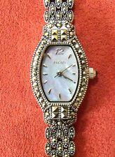 Elgin EG057 Ladies Marcasite Wrist Watch Quartz Blue Mop Bracelet 7.5 in