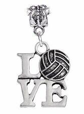 I Love Volleyball Beach Sports Word Dangle Charm fits European Bead Bracelets