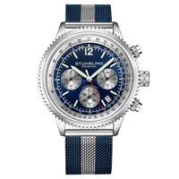 Stuhrling 3976 2 Quartz Chronograph Date Blue Colored Mesh Bracelet Mens Watch