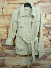 DKNY Jeans Women's 100% Linen Jacket Cardigan Blazer  Button Front Size L Beige