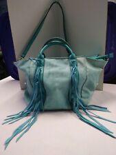 Blue Large Fringed Shoulder Handbag Two Handles/Tote Pre-owned