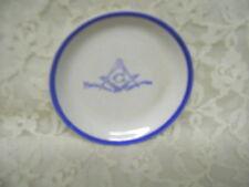 Miniature Masonic Plate White with Blue Rim and Symbol
