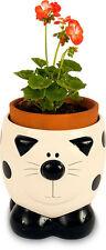 2kewt/ceramic/cat / feline/flower/plant / pot/planter/holder / Nuevo