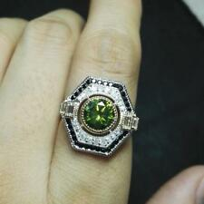 Natural Green Tourmaline Diamond Engagement Ring Solid 14K 2-Tone Gold Jewelry