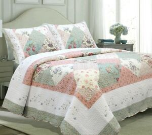 Laura Celadon Real Patchwork Reversible 100%Cotton Quilt Set Bedspread Coverlet