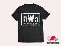 New World Order Men's Black T-Shirt nWo Logo WCW Professional Wrestling Tee