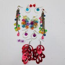 Earrings Lot of 7 Plastic Dangle Rainbow Heart Red Statement Chain Stud Hook