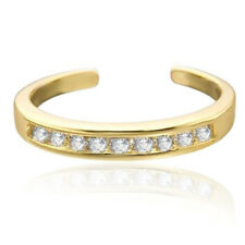 14k Yellow Gold Over Channel-Set Simulated Diamond Toe Ring