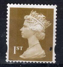 GB = QE2 era, Gold 1st NVI FORGERY. Print disturbance all over stamp. (b)