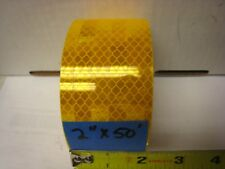 """AMBER YELLOW GOLD Reflective   Conspicuity Tape 2"""" x 50 ft lined"""