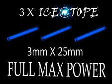 ICEATOPE 3 X ICE UV NEON BLUE Isotopes Betalights 3mmX25mm FULL MAX POWER CARP