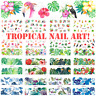 Tropical Nail Art Water Decals, Nail Stickers, Nail Decals Beach Summer Flamingo