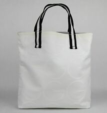 "New Authentic Gucci ""G"" Pettern White Canvas Tote Bag 123439 9061"
