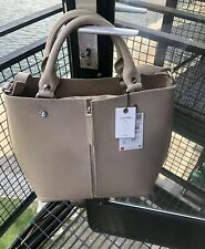 Zara Leather Tote Bag With Zip Detail Shoulder Strap Ecru Nude Large RRP £95.99