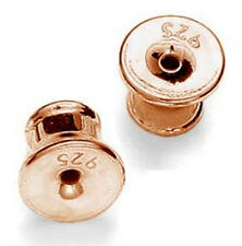 1 paire argent sterling 925 oreille post bouchons + silicone, plaqué or rose, 5 mm