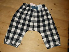M&S 100%Cotton Adj.Waist Fully Lined Checked Trousers 3-6m 69cm Navy Mix BNWT