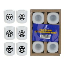 "Mega Candles - Ceramic 1/2"" Chime / Spell Candle Holder - White, Set of 6"