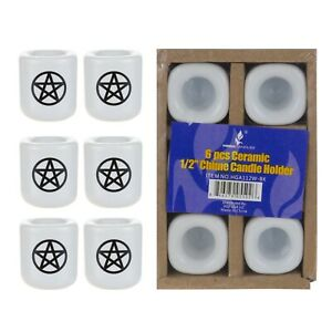 "Mega Candles - Ceramic 1/2"" Chime / Spell Candle Holder - White, Set of 6"